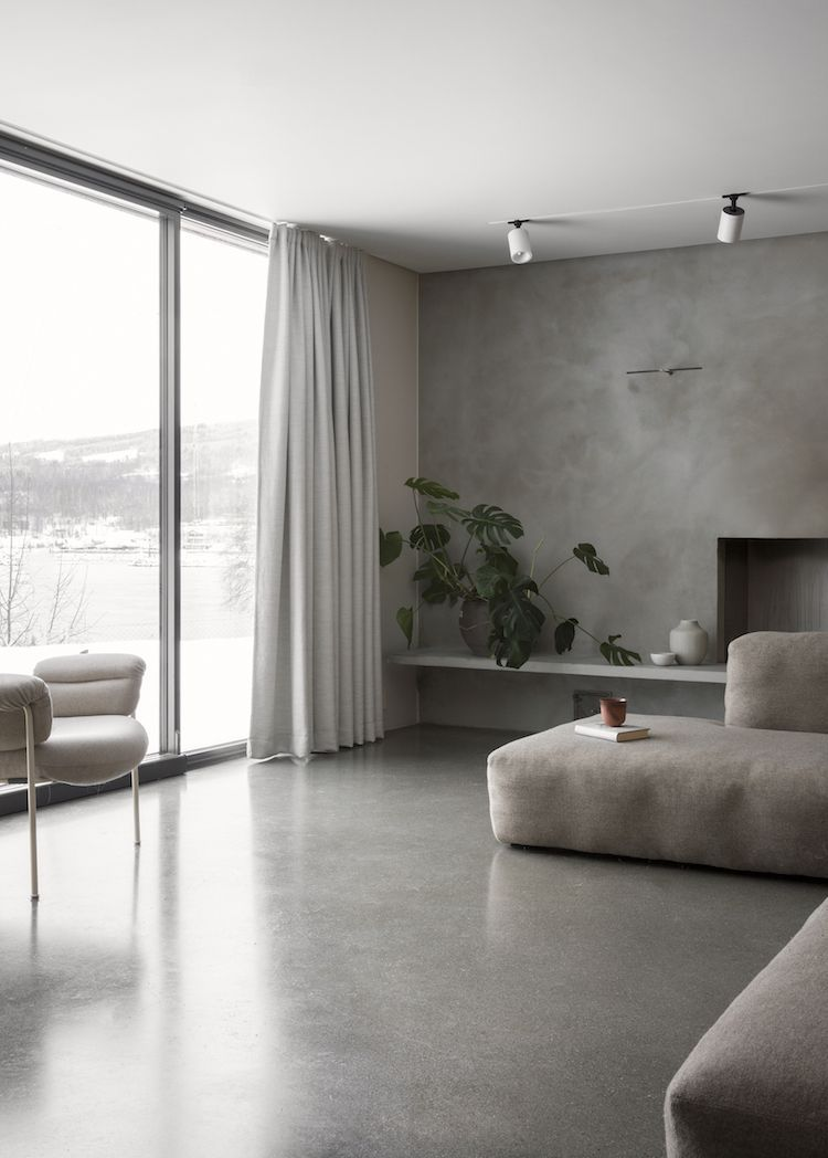 Jonas Bjerre Poulsen An Hour North Of Oslo Located On A Majestic Hillside Facing The Norwegian Woods Minimalist Home Minimalist Living Room Concrete Interiors
