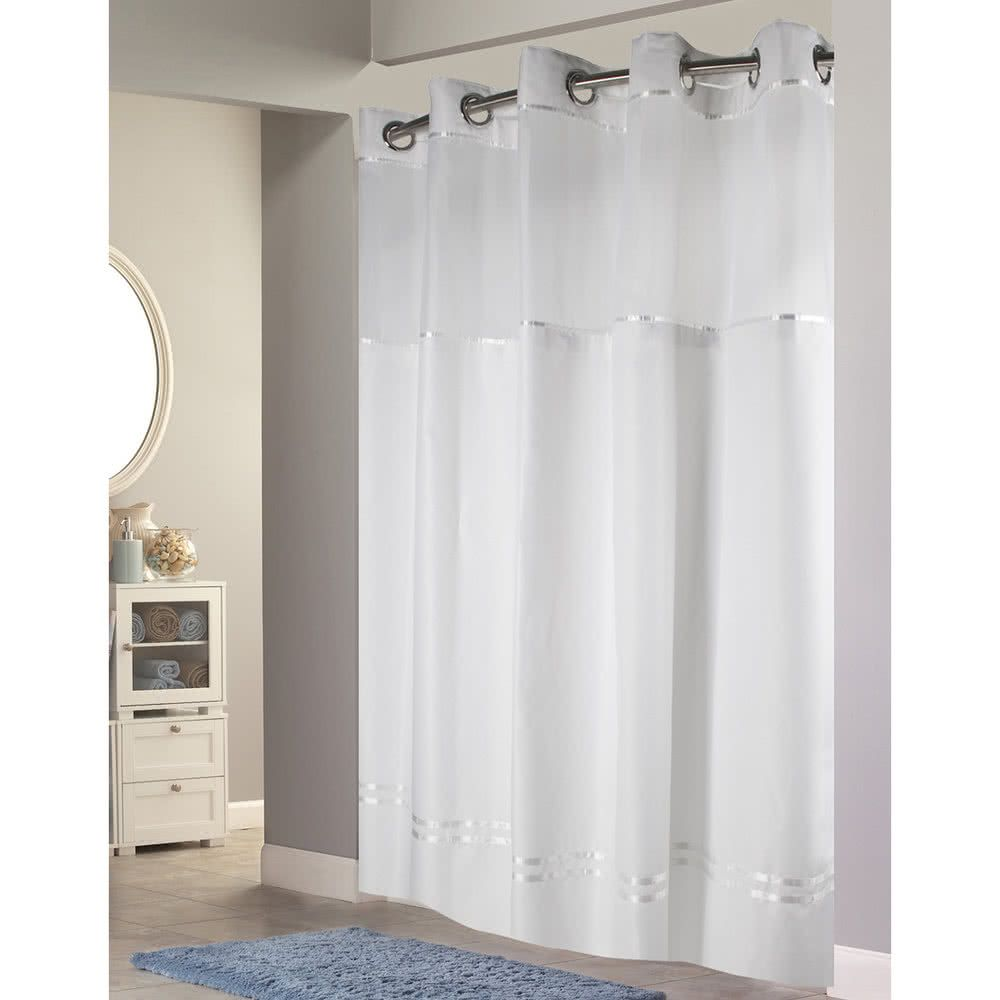 Hookless Hbh40e257 White With White Stripe Escape Shower Curtain
