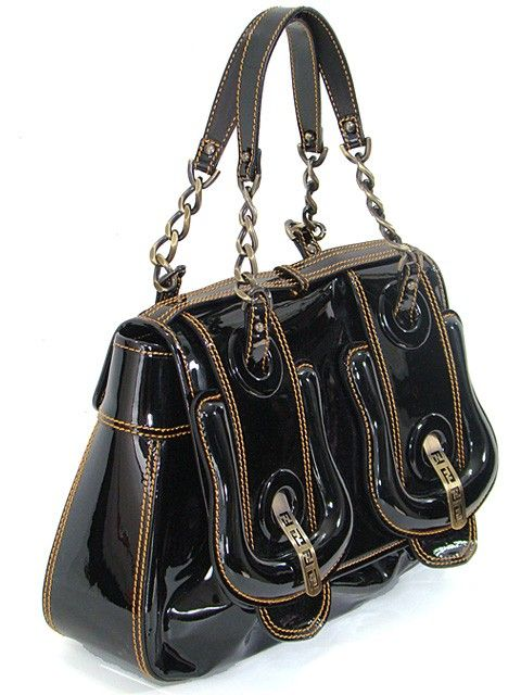 136c82ab6b Fendi Handbag - Black Patent Leather Medium B Bag | Pocketbooks ...