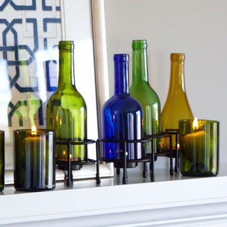 Recycled Wine Bottle Tea Lights