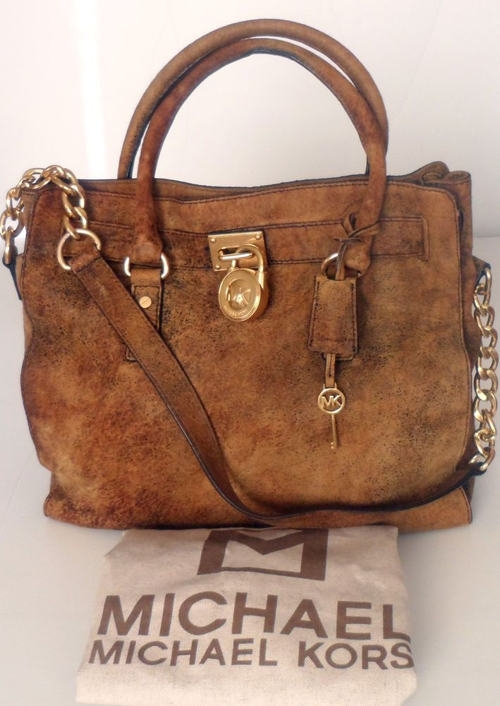 f1c0fa3bd617 Michael Kors Brown Distressed Leather Hamilton Tote Bag Gold-Tone Hardware # MichaelKors #TotesShoppers