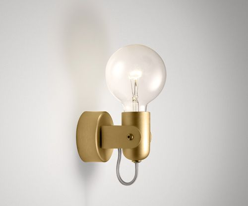 Bulb sconce ism objects w wall canopy and shield available in silver black or gold anodised finish or can be custom ordered in other powdercoat colours