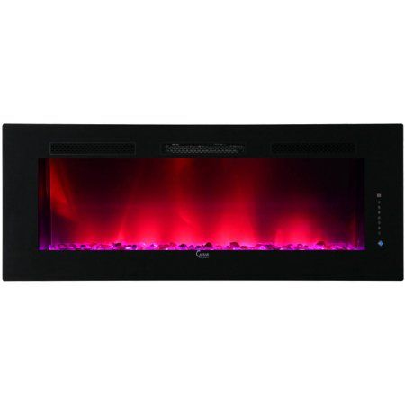 2015 Caesar Luxury Electric Wallmount Multicolor Flame Electric Fireplace, 74-inch, Black