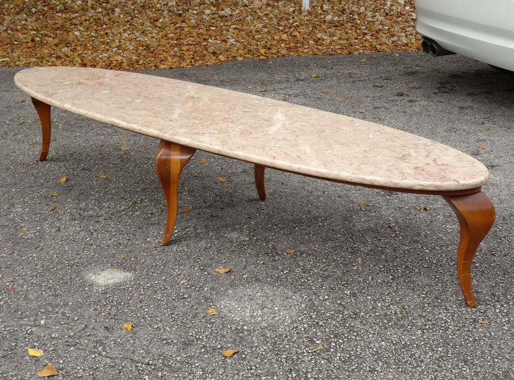 VINTAGE 50s ELLIPTICAL SURFBOARD PORTUGAL MARBLE TOP WOOD PLATFORM COFFEE  TABLE