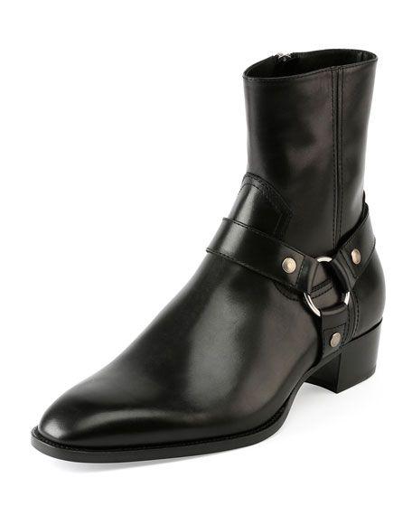 SAINT LAURENT Wyatt Leather Harness Boot, Black. #saintlaurent #shoes #