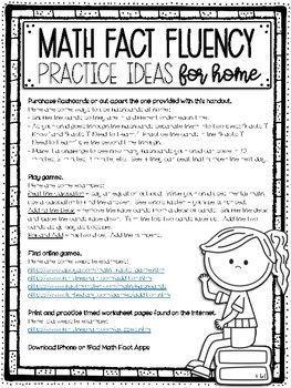 Math Fact Fluency Practice Ideas for Home Parent Letter #