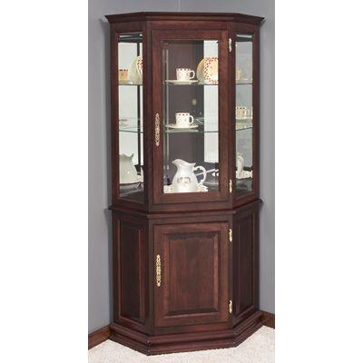 corner+curio+cabinets | Deluxe Corner Curio Cabinet w/ Enclosed ...