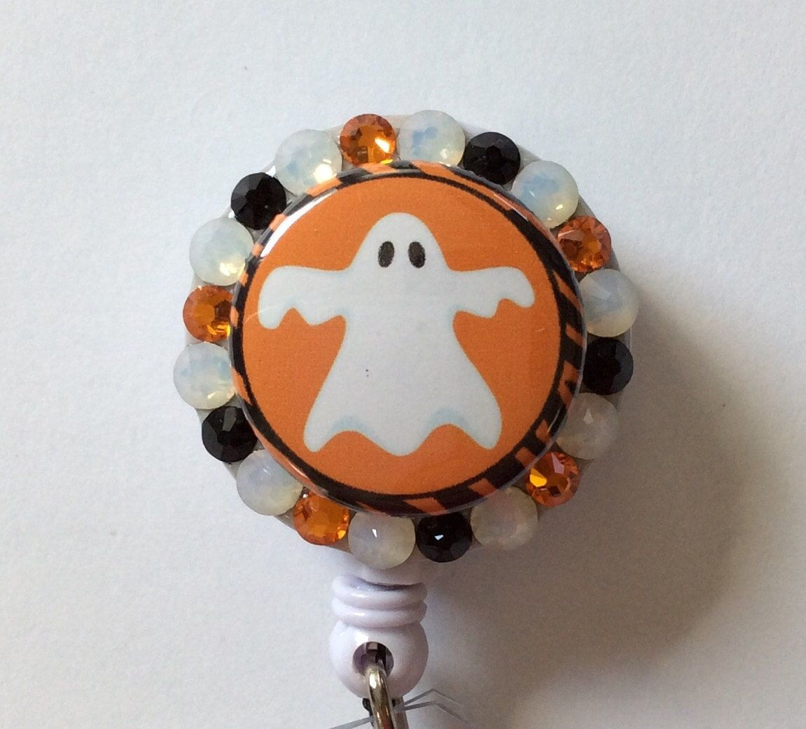 Halloween Ghost Decorative Badge/ID Holder with Charm/Beads by Lindasbadgeboutique on Etsy