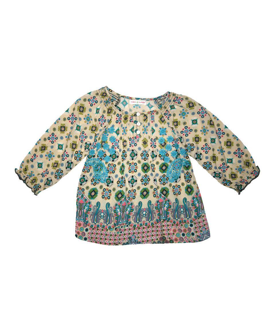 Blue & Green Mosaic Peasant Top - Toddler & Girls by Mimi & Maggie #zulily #zulilyfinds