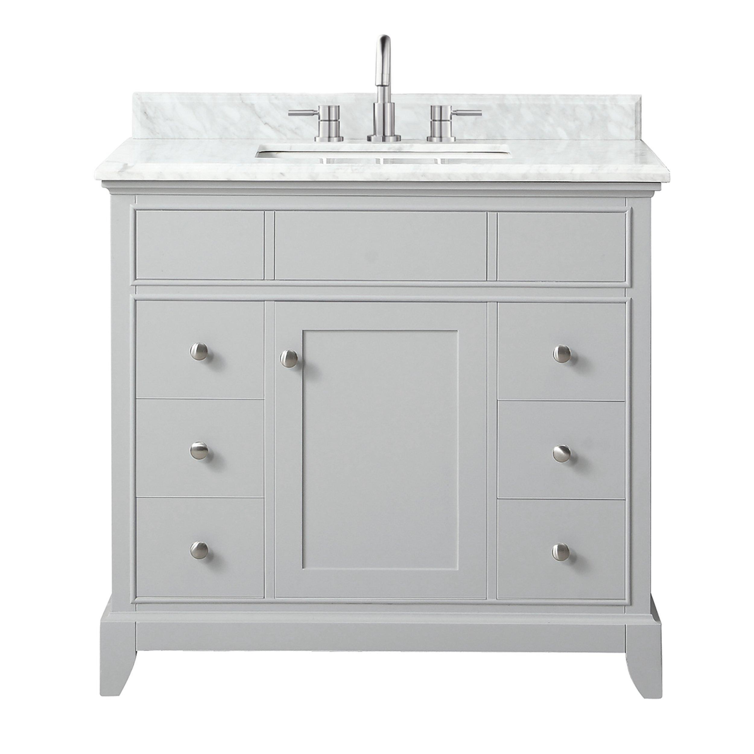 Aurora 37 In Vanity With Carrara Marble Top Marble Bathroom Vanity Marble Vanity Tops Vanity