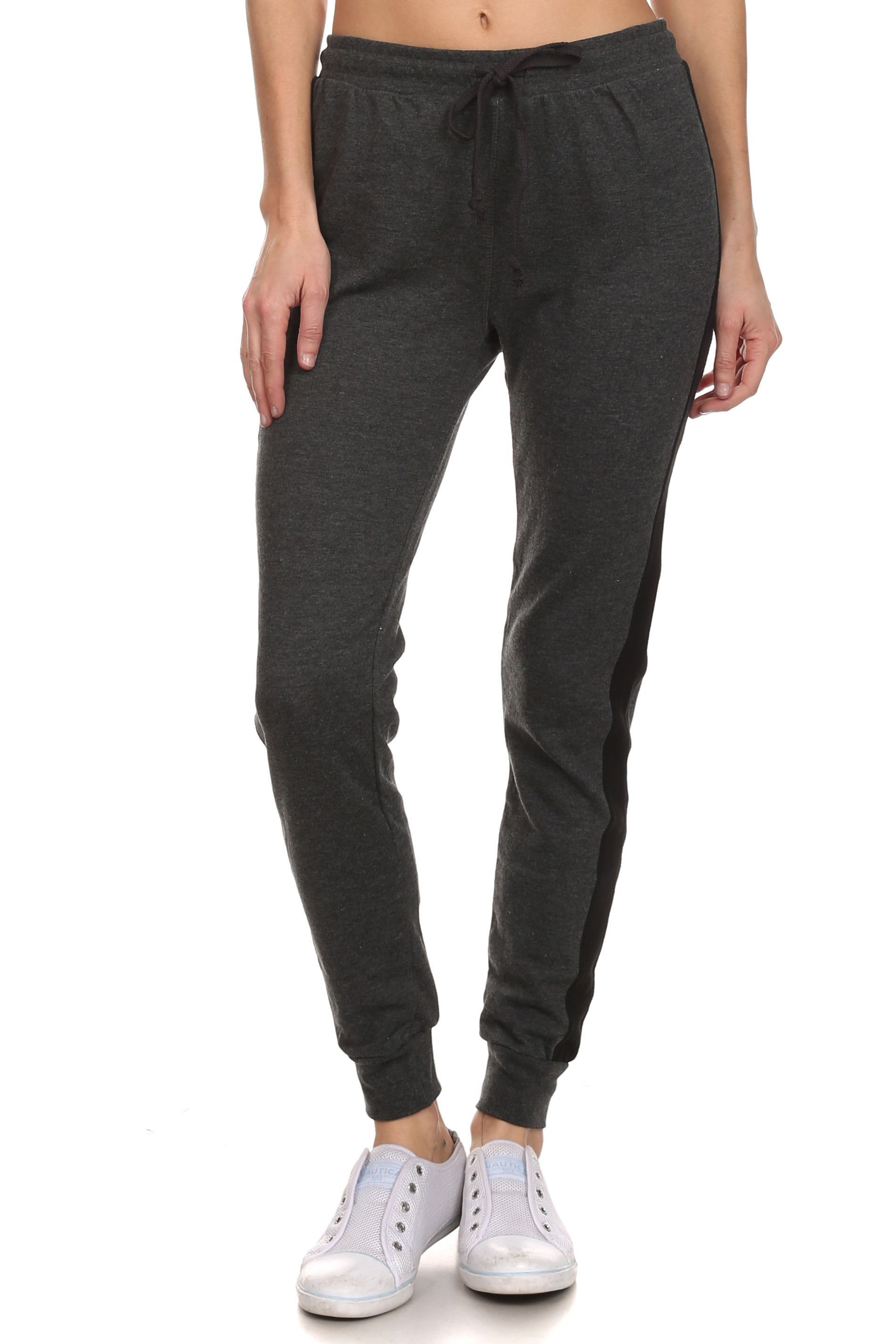 Women's Drawstring Joggers With Contrasting Color Side Stripe