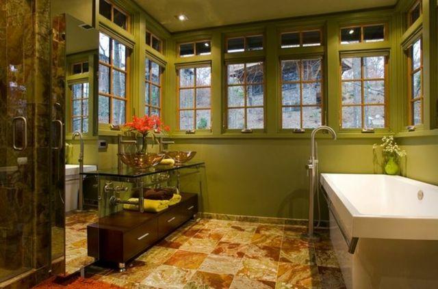 Déco reposante et tendance en vert pour la salle de bain Room - decoration salle de bain moderne