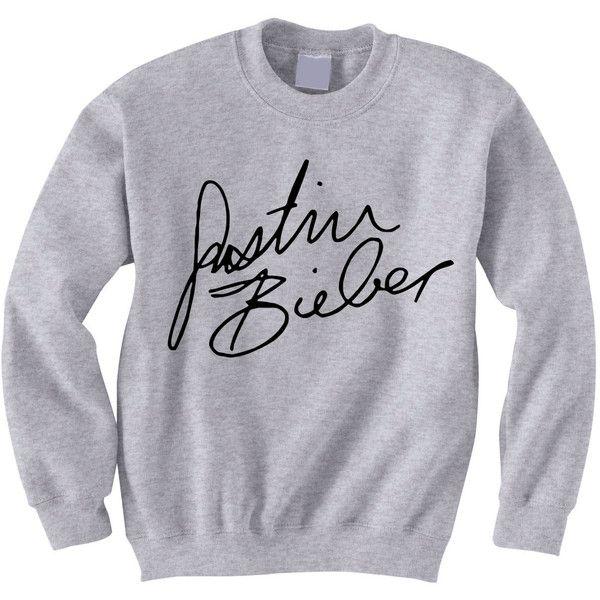 5449f7cf8c02 NEW Justin Bieber Signature Crewneck Sweatshirt ( 25) ❤ liked on Polyvore  featuring tops