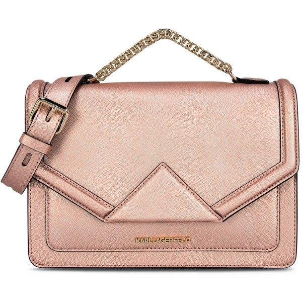 Karl Lagerfeld K/Klassik Shoulderbag ($315) ❤ liked on Polyvore featuring bags, handbags, shoulder bags, purses, bolsas, metal rose, pink shoulder handbags, pink shoulder bag, envelope clutch and leather shoulder bag