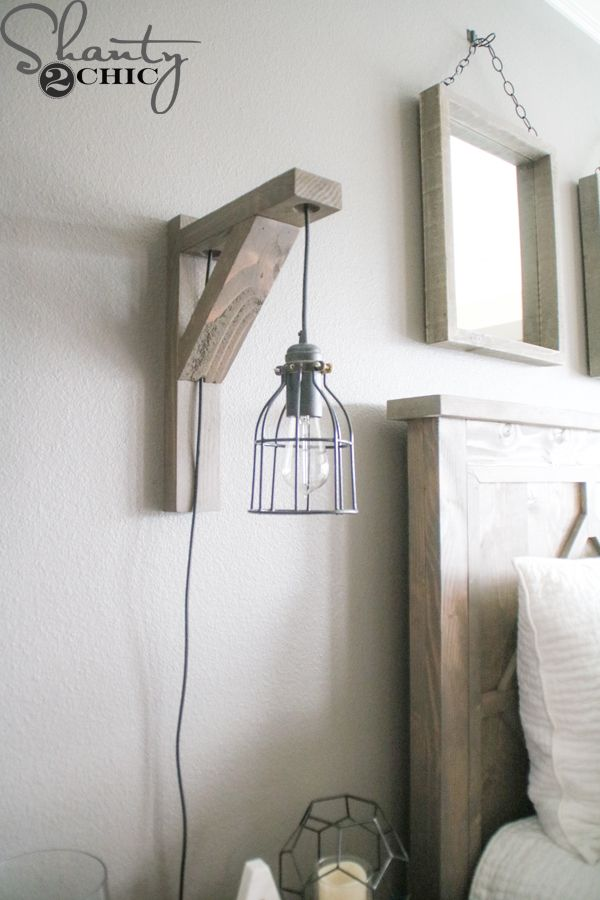 Build This DIY Rustic Corbel Light Sconce For $25! Creative Bedroom Lamp  But Perfect For So Many Spots In Your Home! Free Plans At  Www.shanty 2 Chic.com