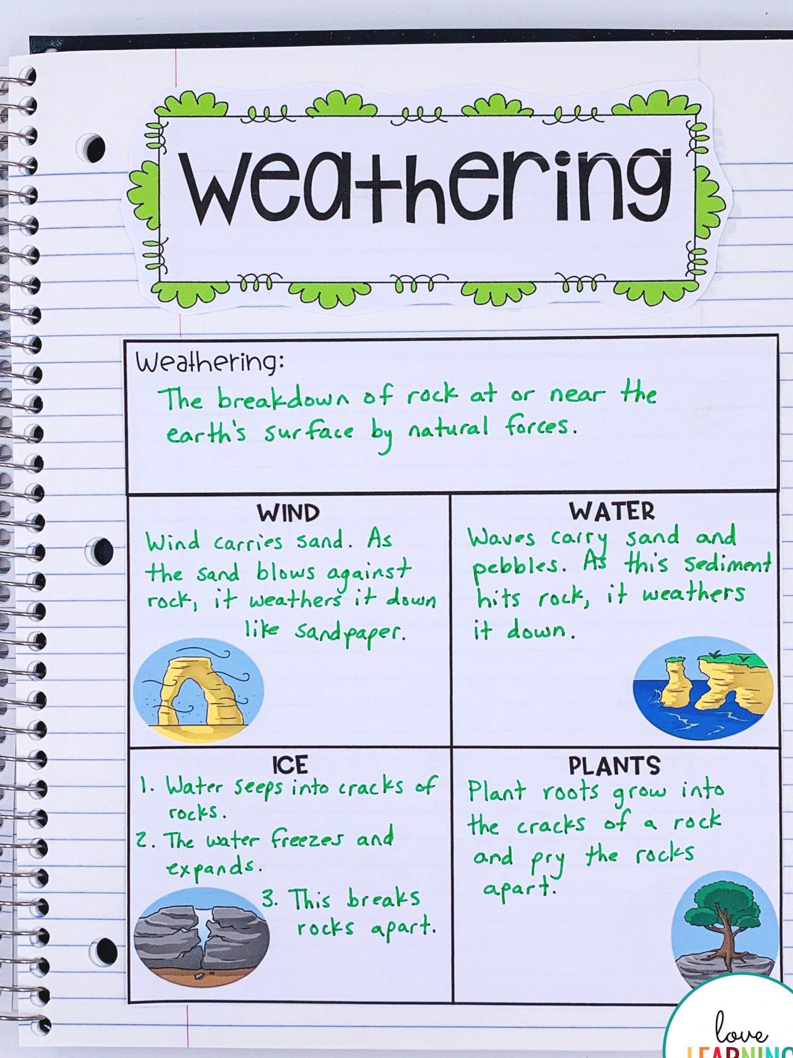 Weathering Park Erosion Worksheet   Printable Worksheets and Activities for  Teachers [ 3550 x 2662 Pixel ]