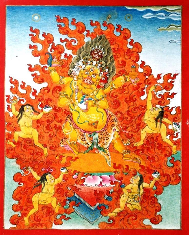 Mahakala Chaturmukha (Four-faced) yellow   Buddhist, Tibetan art, Buddhism