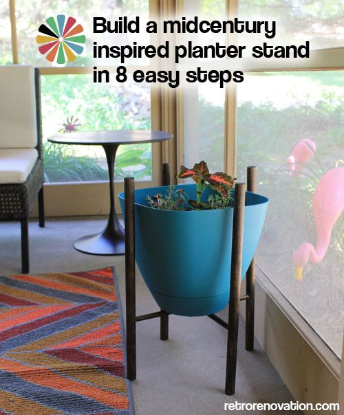 build a midcentury inspired planter stand in 8 easy steps. Black Bedroom Furniture Sets. Home Design Ideas