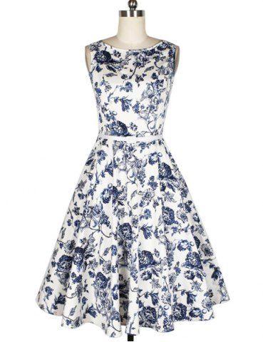 Vintage Blue Flower Print Boat Neck Sleeveless Mid-Calf Women's Pleated Dress With BeltVintage Dresses   RoseGal.com