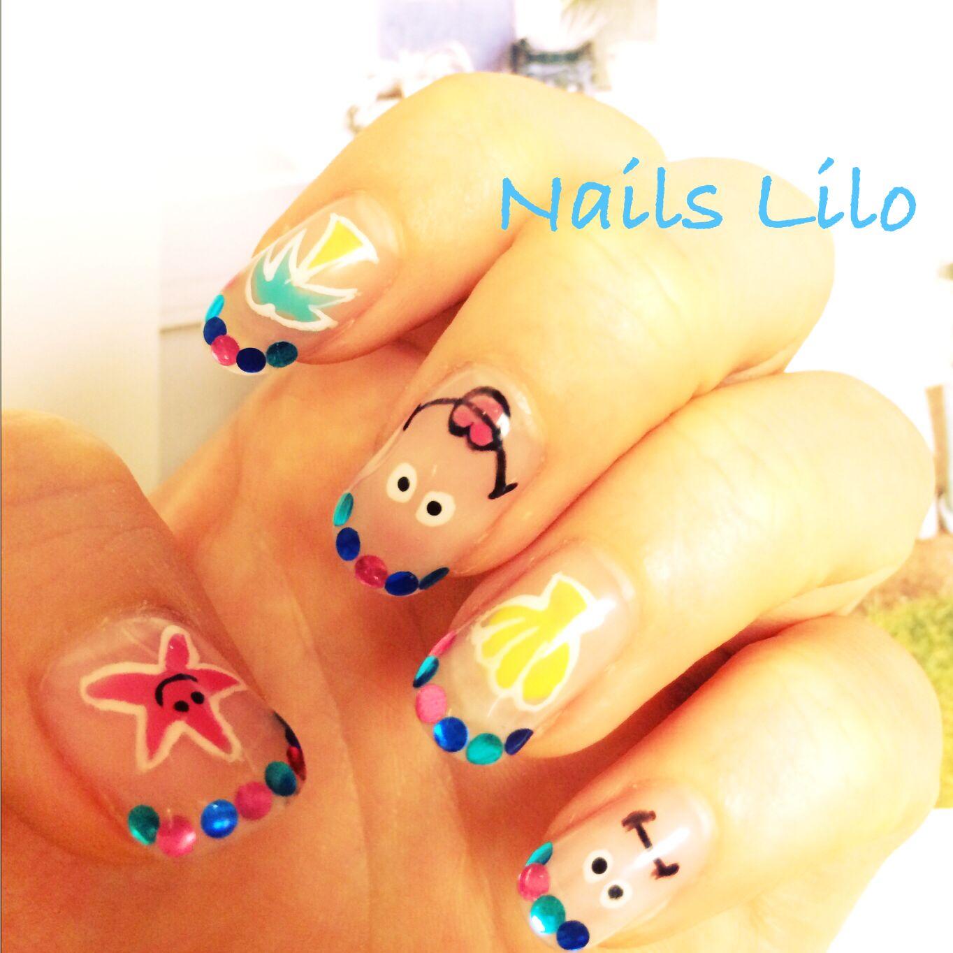 #Nails Lilo @kyoto original nail art   #face. niconico #summer.starfish.pineapple.sun.shell