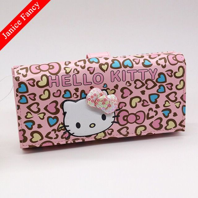 65196de38 Promotion price New 2017 Hello Kitty Designer Fashion PU Cartoon Cute Card  Holder Long Coin Bolso