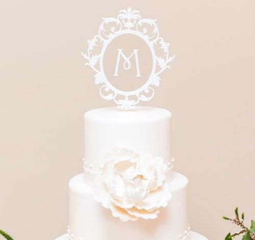 Classic Floating Monogram White Acrylic Cake Topper $24.98