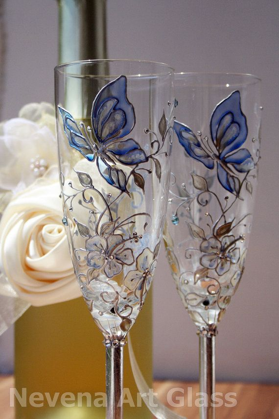Erfly Wedding Champagne Gles Hand Painted In Aqua Blue Silver Cream Decorated With Swarovski Crystals