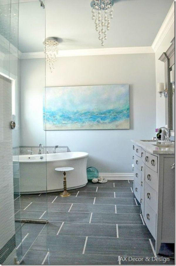 Coastal Bathroom Makeover I Like The Colors And The Tile Floor. Bathtub  Unusual.