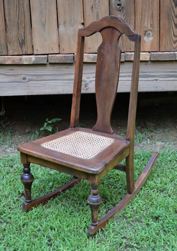 Vintage Childu0027s Wood Rocking Chair With Cane Seat