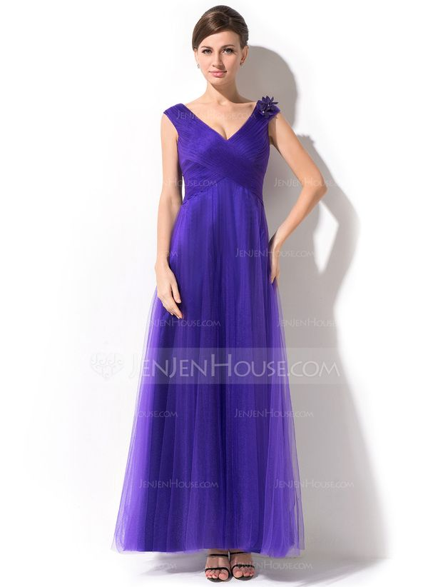 A-Line/Princess V-neck Ankle-Length Tulle Mother of the Bride Dress With Ruffle Beading Flower(s) (008026215)