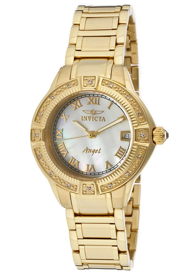 Invicta Women's Angel 18K Gold Plated SS MOP Dial - Watch 12807,    #Invicta,    #12807,    #WatchesDressQuartz
