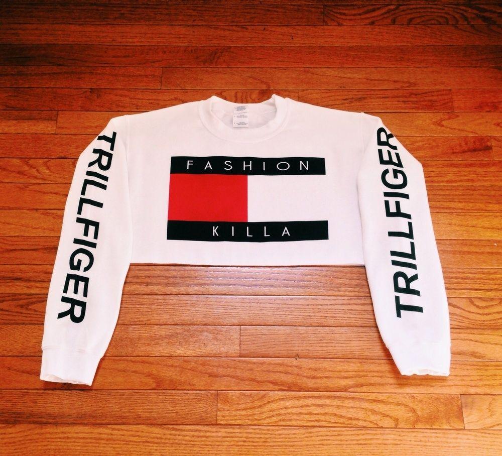 Image Of Fashion Killa X Trillfiger Crop Sweater White Restocked Soon Fashion Killa Cropped Sweater Fancy Sweater [ 908 x 1000 Pixel ]