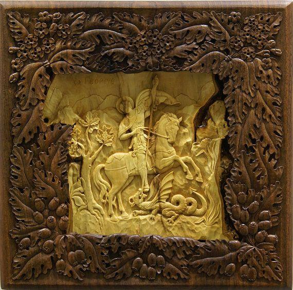 Saint George, Art Wood Carvings, home iconostasis, Orthodox ...