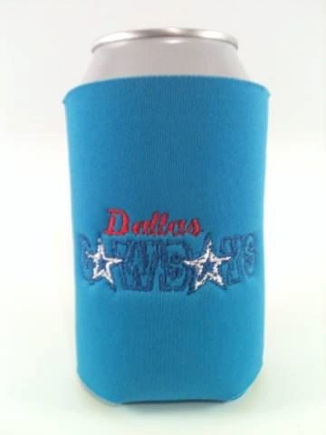 DALLAS COWBOYS Inspired Can Bottle and Zippered Beer Bottle Koozie -  Embroidered and Personalized - Dallas
