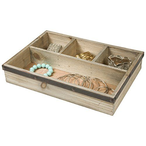 Four Section Wooden Jewelry Tray Drawer Organizer Natural Raymond