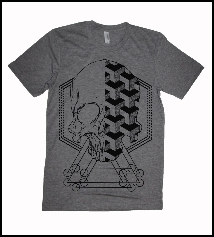 T-shirt design handmade - Handmade Men S Geometric Skull T Shirt Made Of Cotton Polyester Super Soft And Lightweight With Great Geometric Skull Print
