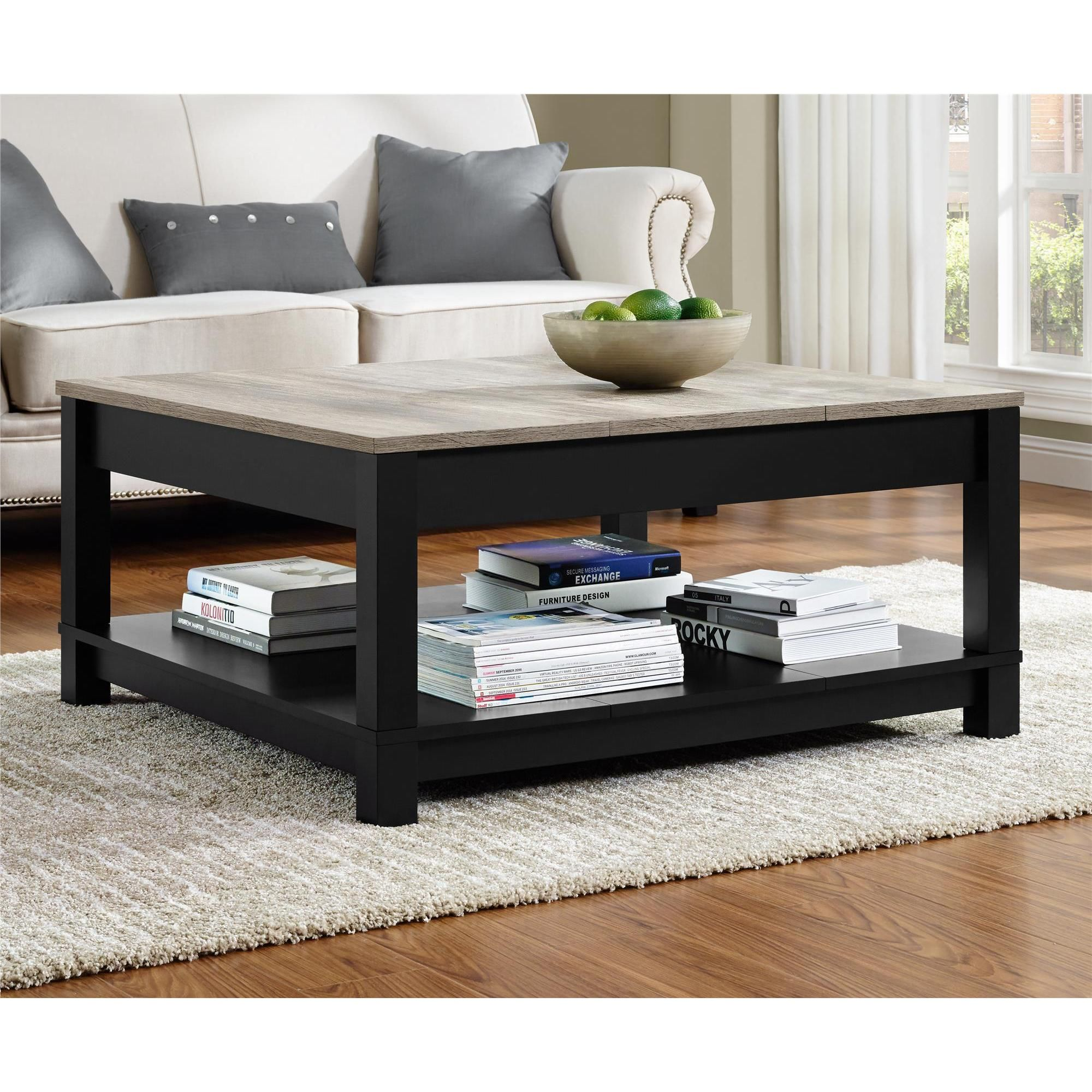 Ameriwood Home Carver Coffee Table (Coffee Table, Black Sonoma Oak),