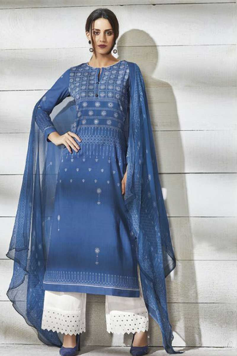 Blue-Simple-And-Shober-Look-Lond-Sleeve-Cotton-Lawn-Salwar-Suit-And-Palazzo-Style-Bottom-And ...