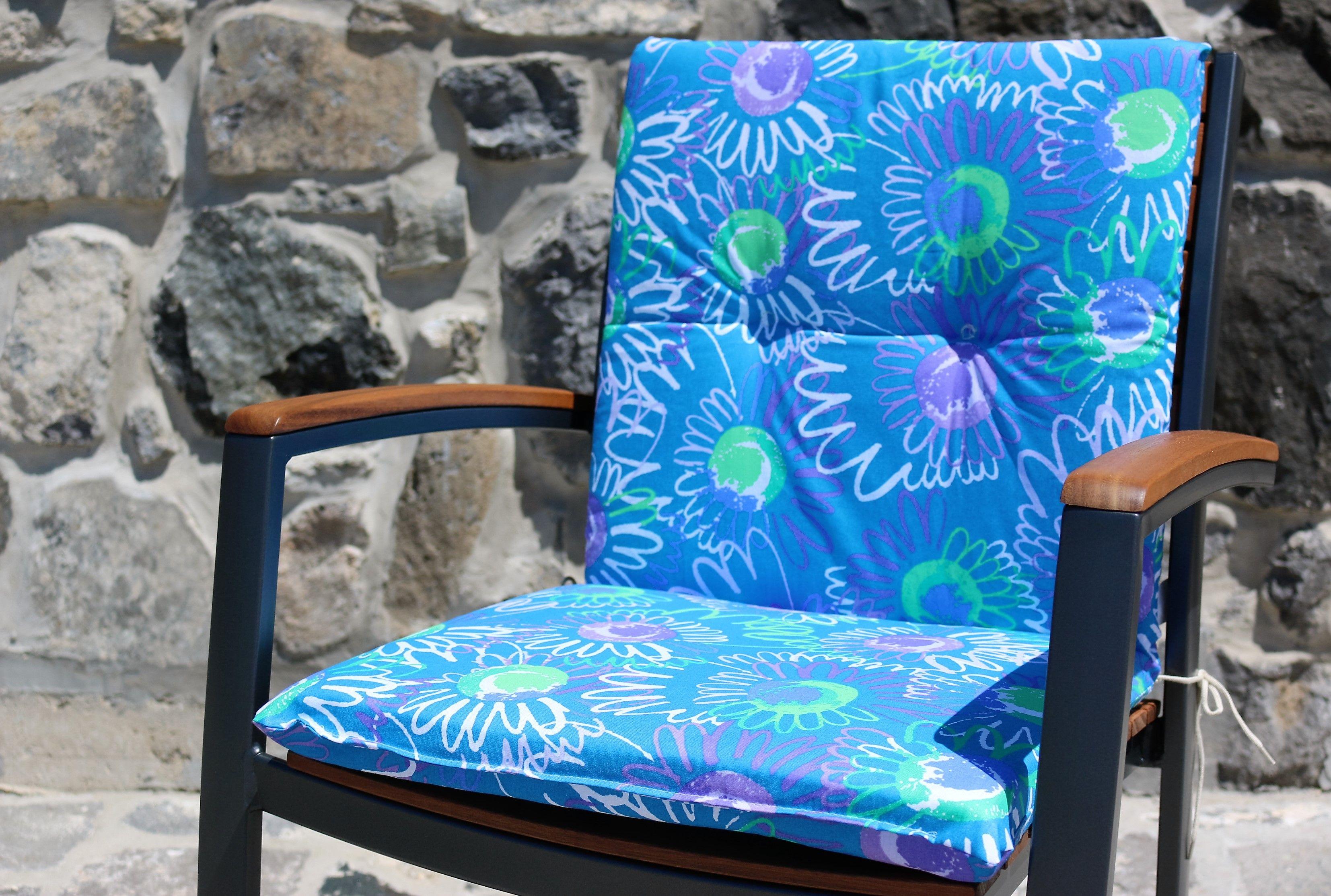 Blue Flowers Gartenstuhl Auflage Gartenauflagen Gartenmobel Gartenmobel Auflagen