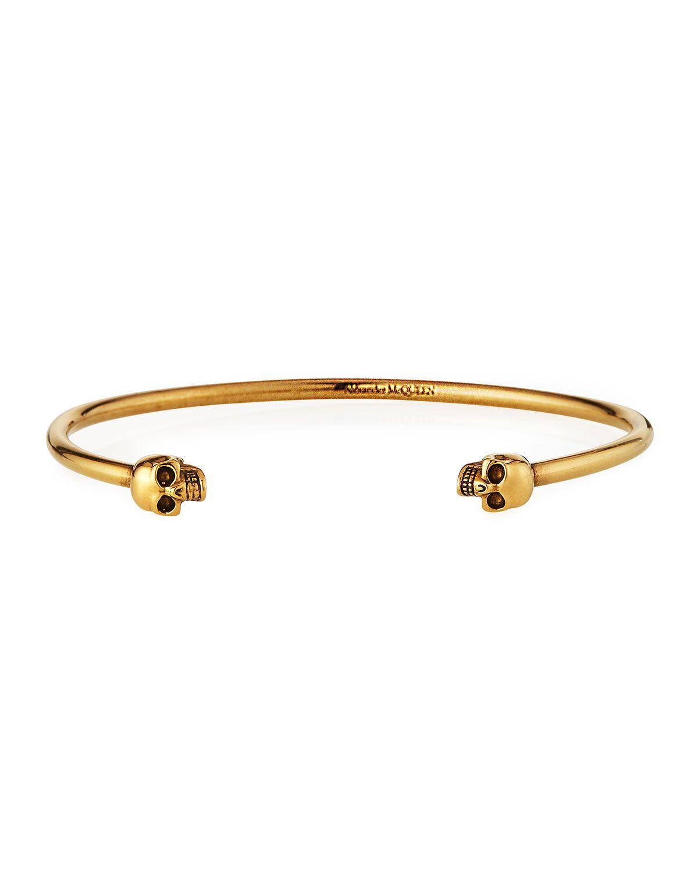 Men S Thin Twin Skulls Cuff Bracelet
