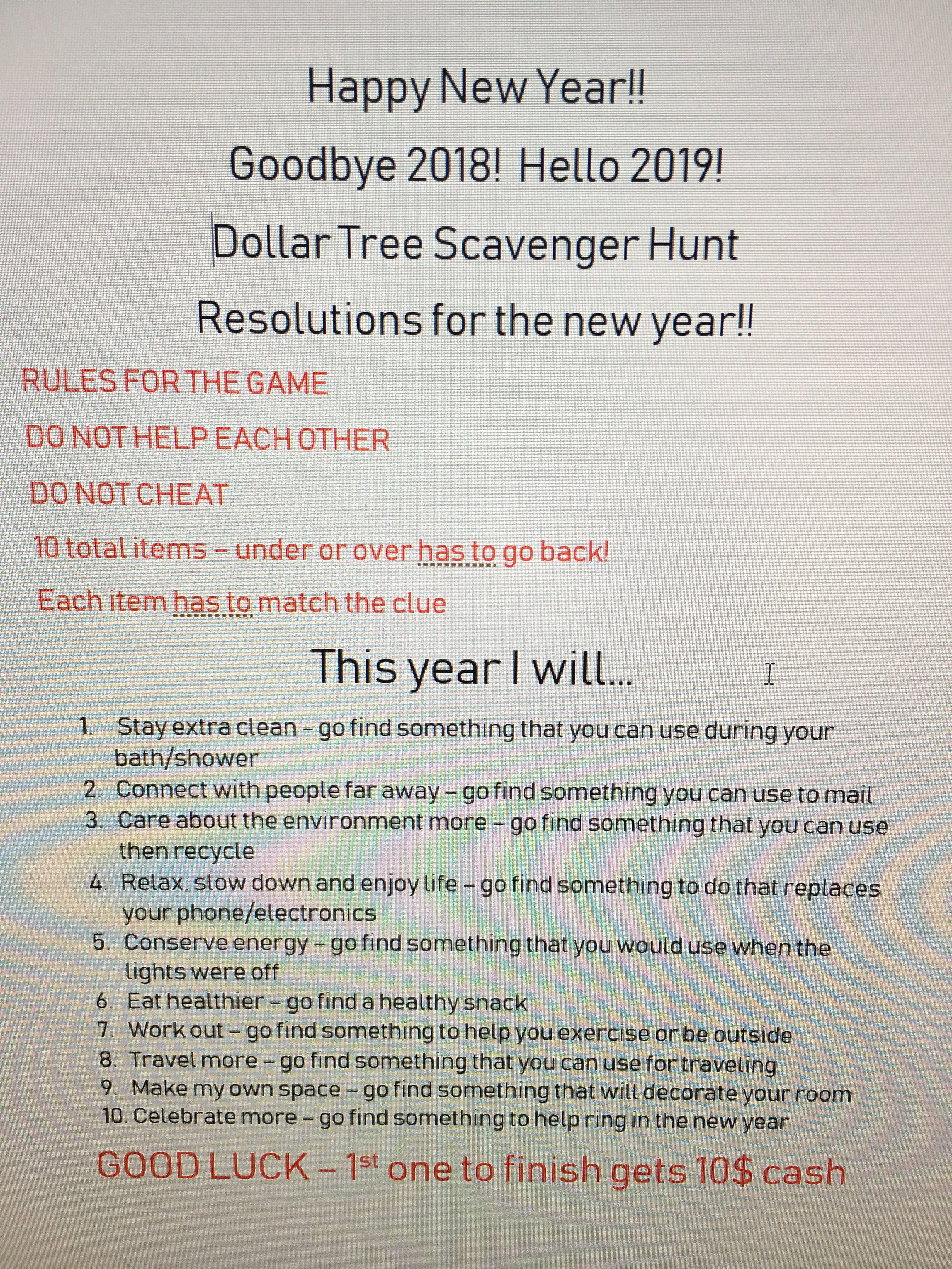 New Year S Eve Dollar Tree Scavenger Hunt