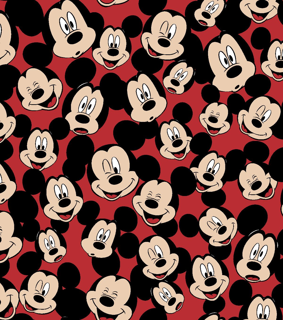 Disney Mickey Mouse Fleece Fabric 59'' Tossed Mickey Heads