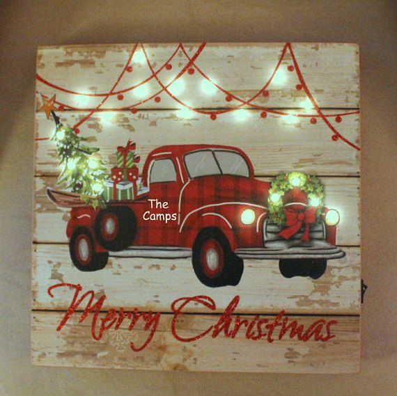 LiT Christmas Sign Rustic Vintage RED TRUCK Christmas Tree Farm