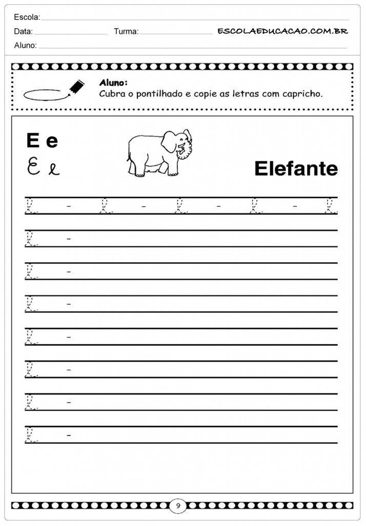 Alfabeto Cursivo Atividades Com A Letra P Atividades Letra E