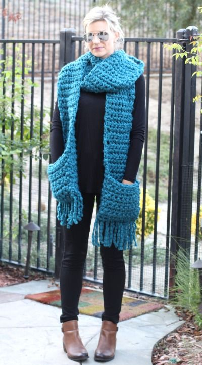 Easy Crochet Fringe Pocket Scarf Knitcrochet Crochet Crochet