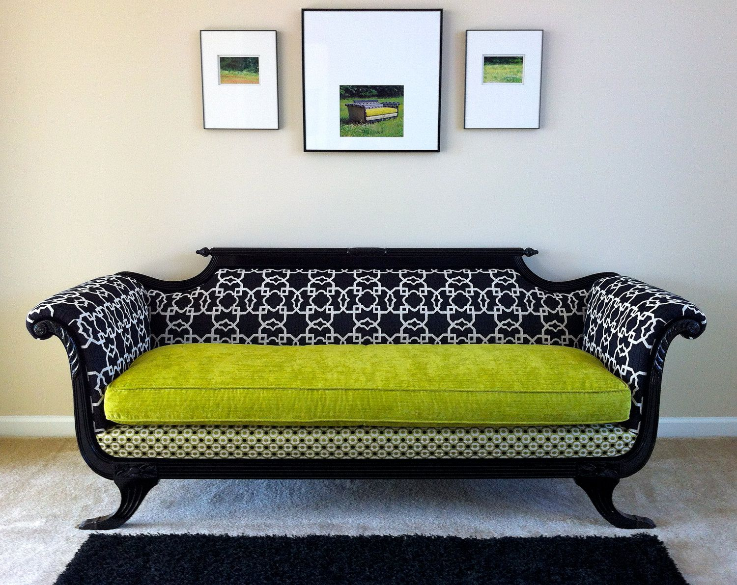 1930s Duncan Phyfe Sofa Redesigned For Modern Times In Shocking Chartreuse 2 700 00 Via Etsy