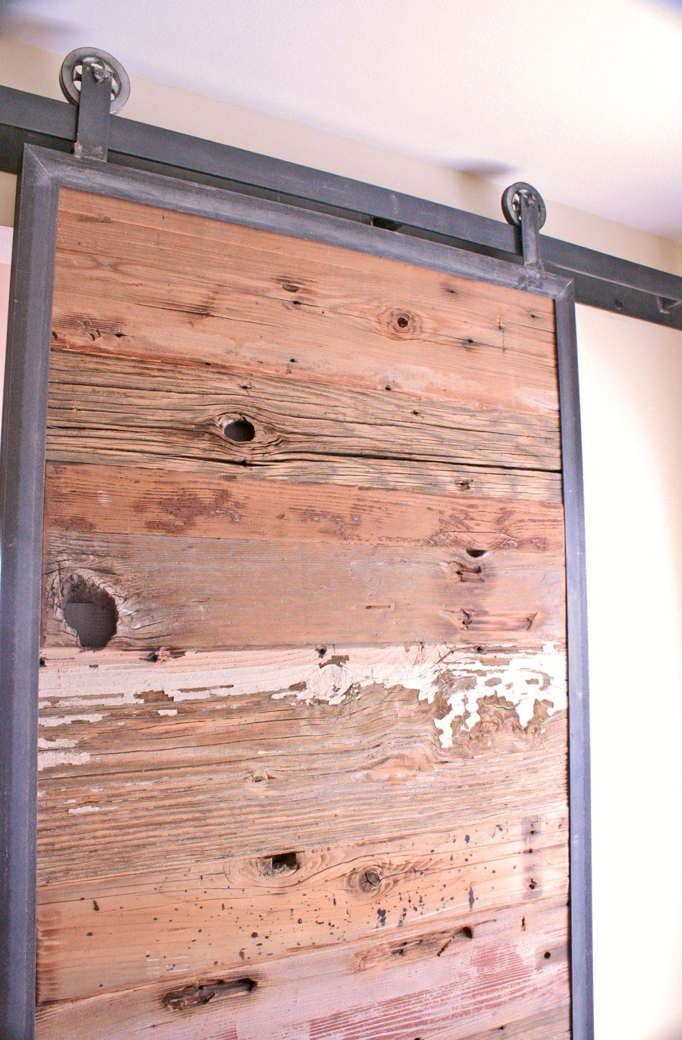 Barn doors in reclaimed wood tracks included barn door for Metal barn doors