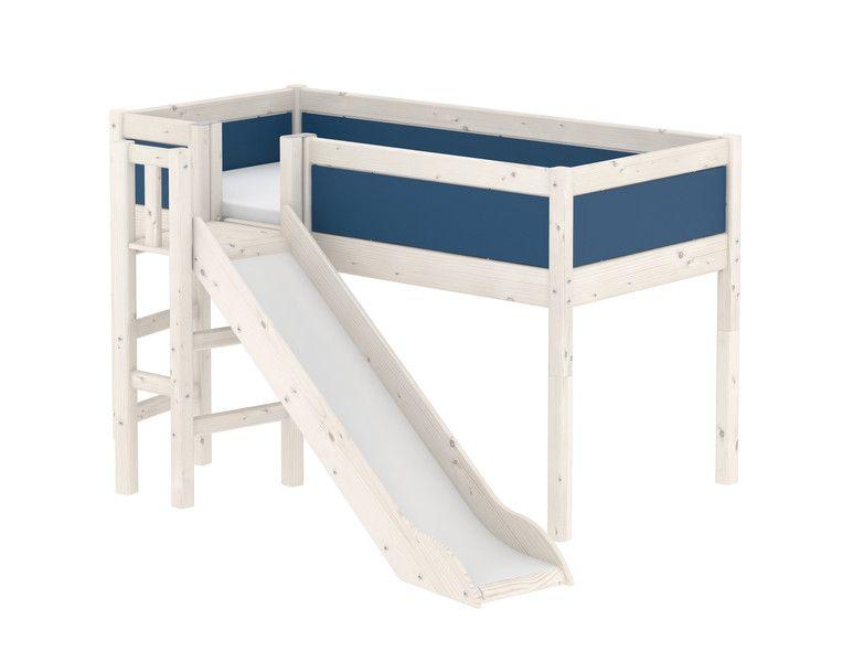 Flexa Halfhoogslaper Met Glijbaan White Wash.Harmony Halfhoogslaper Met Platform En Glijbaan Whitewash En Blauw