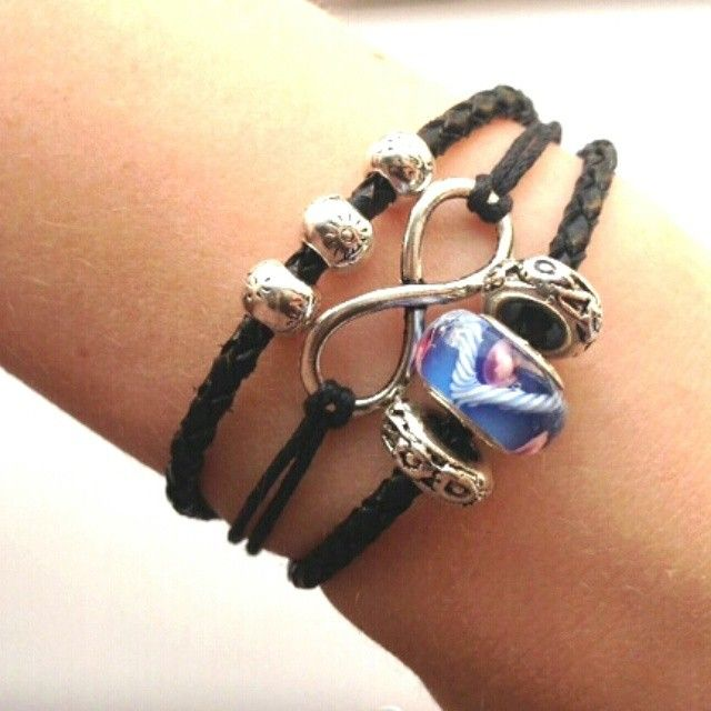 Handmade leather bracelet with Silver Plated Beads. Adjustable length to fit all wrist sizes. #forsale on inselly.com