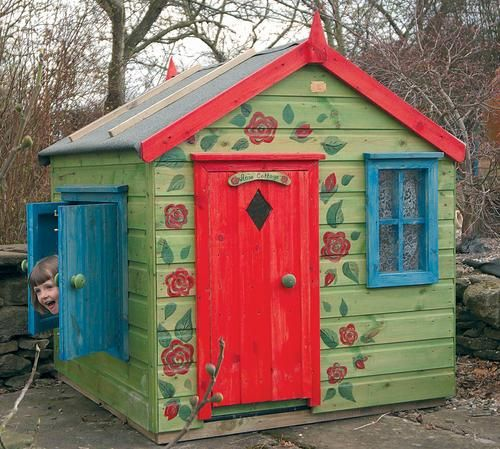 Little girls playhouses playhouses outdoor outdoor for Wooden wendy house ideas